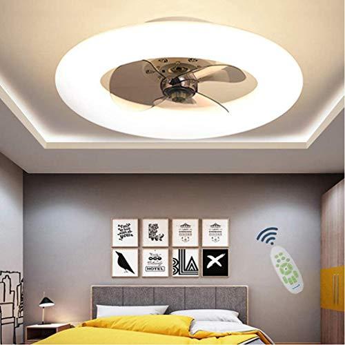 WJLL Ventiladores para el Techo con lámpara Dormitorio Led Ventilador de Techo con Luz y Mando Silencioso Reversible 6 Velocidades Ventilador Lámpara de Techo con Temporizador Regulable,Blanco