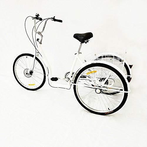 Fetcoi Triciclo para adultos, 26 pulgadas, 6 velocidades, 3 ruedas, pedal con cesta de la compra (negro/blanco)