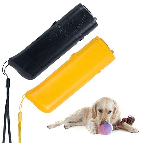 YHmall 3 in 1 Ultraschall Hunde Anti-barke Handheld-Hundetrainingsgerät Abschreckung Antibellen Hund Stopper Trainer GerätLED-Außenrinde-Controller Anti-Statik Handschlaufe (Schwarz+Gelb)