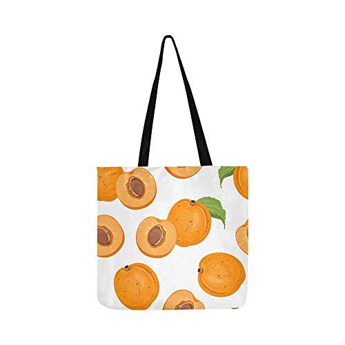 Bolso de hombro de lona para hombres Bolsas de supermercado de frutas de dibujos animados de albaricoque para niños Bolsas de supermercado Soporte para tiendas de comestibles Libros Bolsa de compras