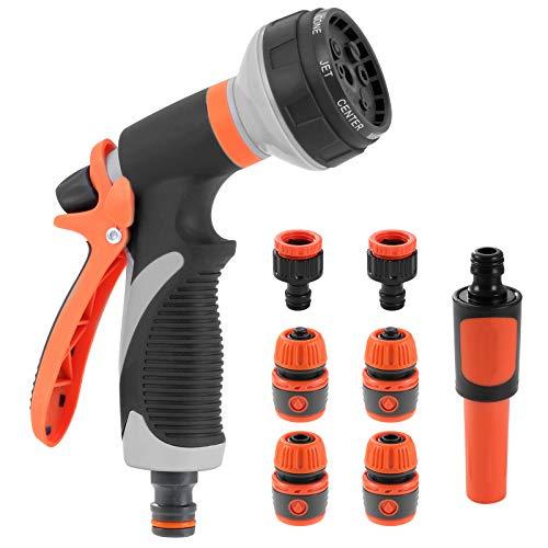 Color Gartenschlauch-Spritzpistole, 8 verstellbare Muster, kein Auslaufen, Multi-Wasserpistole, Hochdruckdüsen für die Bewässerung von Pflanzen, Autowaschen, Duschen von Haustieren