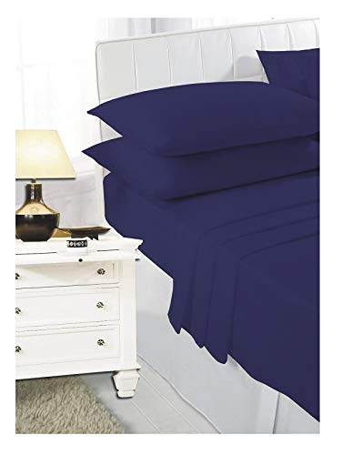 Navy 2ft 6' (76cmx190cm) Percale Bunk Bed Fitted Sheet Caravan Campervan - Small Single Bed