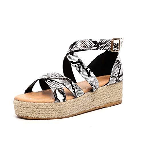 Sandalias Mujer con Cuña Plataforma Zapatillas de Playa Verano Zapatos de Vestir con Hebillas Marrón Negro Serpiente Leopardo 35-43