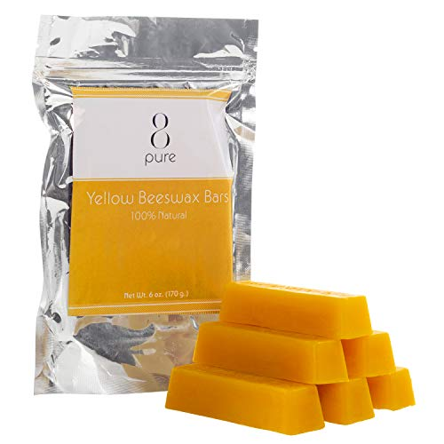 100% All-Natural, Organic Beeswax Bars (6 x 1 oz. Bars) - Pure, Raw Yellow Beeswax by 8PURE