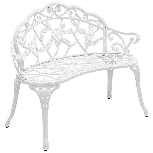 casa.pro Gartenbank Weiß Gusseisen - Wetterfester 2-Sitzer rund aus Metall im Antik-Design - Parkbank/Sitzbank/Eisenbank im Landhausstil
