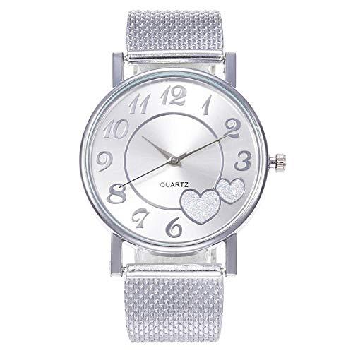 SANDA Relojes De Pulsera,Reloj de Pulsera de Moda para Mujer en Reloj de Amor para Mujer-Plata