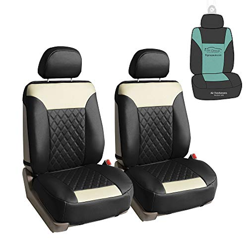 FH Group PU089102 Deluxe Faux Leather Diamond Pattern Car Seat Cushions (Beige) Front Set – Universal Fit for Cars Trucks & SUVs