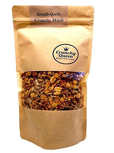 Crunchy Queen handgemachtes Eiweiß-Quelle Crunchy Granola Müsli   3x 340g Spar-Paket   Protein Müsli ohne Zusatz von raffiniertem Zucker (33% pflanzliches Eiweiß)