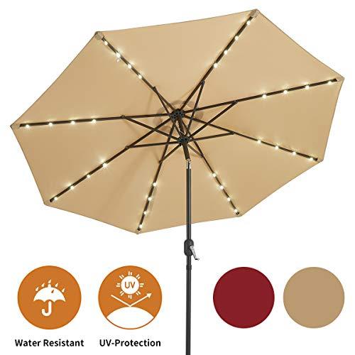 AECOJOY 9FT Patio Umbrella 32 Solar LED Lights Easy Tilt with 8 Ribs for Garden Deck Pool Patio, Beige