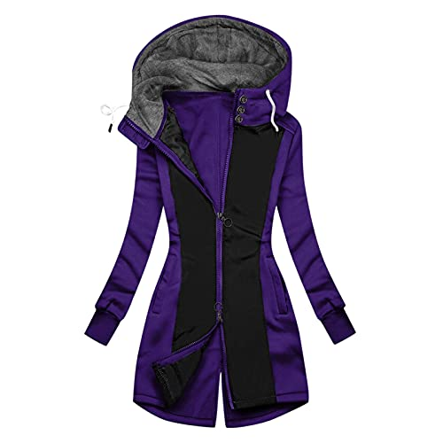 Aniywn Zip-Up Hoodie Jacket for Women Fleece Lined Jumper Sweatshirt Autumn Winter Casual Solid Patchwork Jacket Outwear Purple