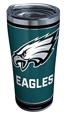 Tervis NFL Philadelphia Eagles - Touchdown Stainless Steel Insulated Tumbler with Clear and Black Hammer Lid, 20 oz, Silver