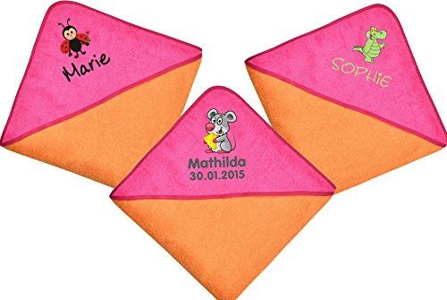 Wolimbo Kapuzenbadetuch 140x140cm mit Namen und Motiv - Farbe: orange-pink - Das individuelle und kuschelig weiche Badehandtuch für...