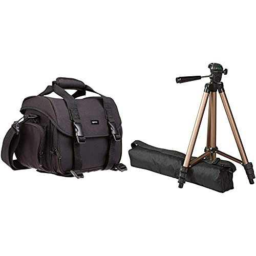 Amazon Basics Large DSLR Gadget Bag (Gray Interior) & Lightweight Camera Mount Tripod Stand with Bag - 16.5 - 50 Inches