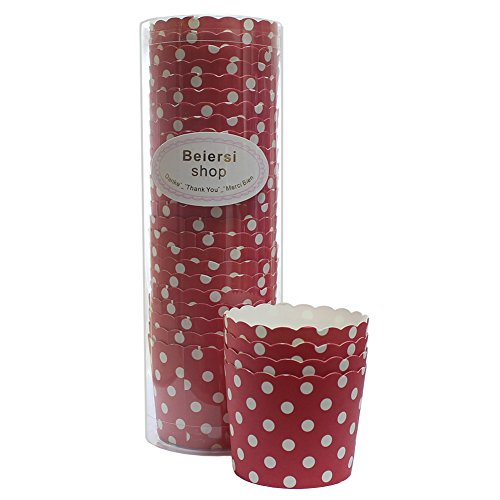 Beiersi 24Pcs Point d'onde Paper Cake Cup Cupcake Cases Liners Muffin Cuisine Baking Wedding Party Bake The Cake Cup (Rouge)