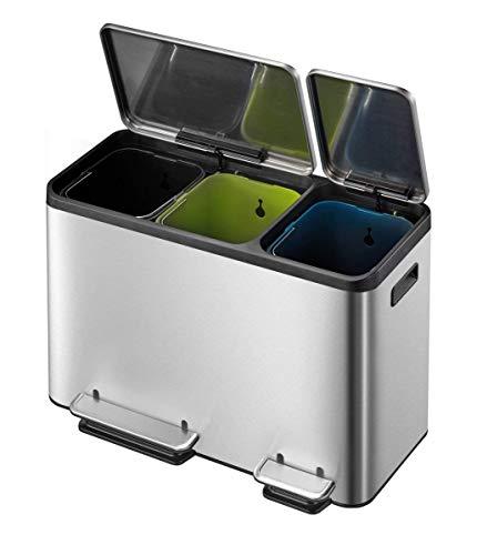 *EKO Ecocasa Tretmülleimer Mülltrennsystem 3 x 15L (32.1 x 60.5 x 49.2 cm, Dämpfer-System, Fingerabdruck frei, Stay-Open, Abfallbeutelfixierung), rostfrei Edelstahl Matt, 32,1 x 60,5 x 49,2 cm*