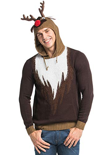 Unisex Men's Ugly Christmas Sweater Hoodie Real Reindeer Wear Fur Funny Novelty Funny Knitted, X-Large