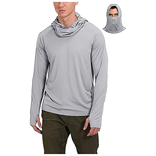 Herren-Angel-Shirt, langärmelig, UV-Schutz mit Kapuze, kühles trockenes Training, Schwimmen, Laufen, Wandern Gr. XL, grau