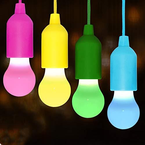 Qucover Ziehlampe Pull Light mit Fernbedienung, Campinglampe Batteriebetrieben Tragbar, 4er LED Glühbirne Farbwechsel, Farbige Licht Dekorative für Fest Party Garten Balkon Zelt, Weihnachten Deko