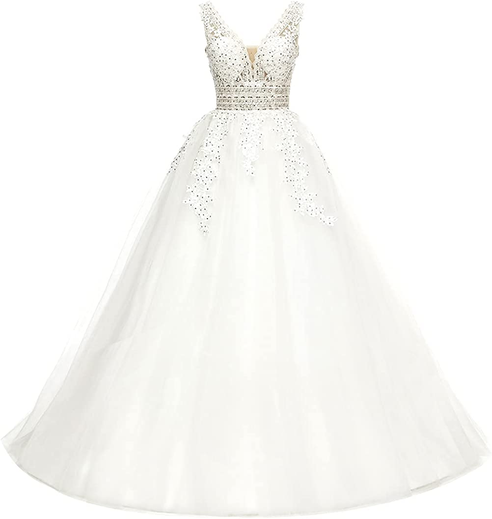 yinyyinhs Max 63% OFF Beaded Lace Appliques Wedding Dresses V Quality inspection Long Neck Brid
