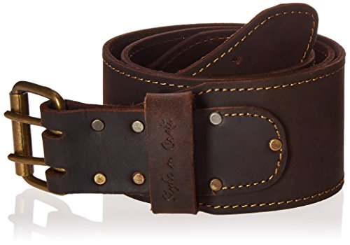"Style n Craft 74055 3"" Wide Long Tapered Work Belt in Heavy Top Grain Oiled Leather, Dark Brown"