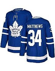ZZCC Mplë Lėf Mtthėw # 34 - Camiseta deportiva de hockey sobre hielo para hombre, camiseta de entrenamiento de manga larga, antiarrugas, transpirable, para hinchas en el campo, color azul, talla M