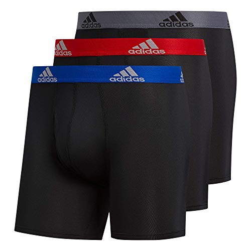 adidas Men's Performance Boxer Brief Underwear (3-Pack) Boxed, Black/Collegiate Royal Blue/Scarlet Red, Medium