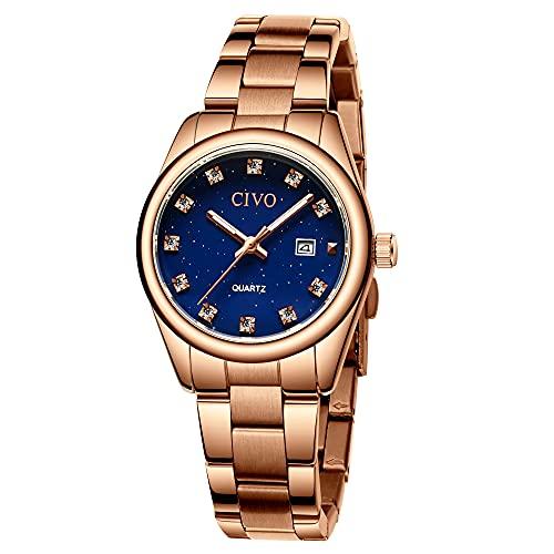 CIVO Orologi da donna polso in acciaio inossidabile impermeabile in oro rosa con datario, elegante orologio da donna con diamanti eleganti, orologio al quarzo analogico per donna