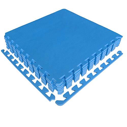 diMio Sport-Schutzmatten - Puzzlematten inkl. Randstücke in Blau, 8 Puzzleteile à 50x50cm, Wasserfest - Schutzmatte/Unterlegmatte/Fitnessmatte/Bodenschutz Matte (Blau, 4er Set)