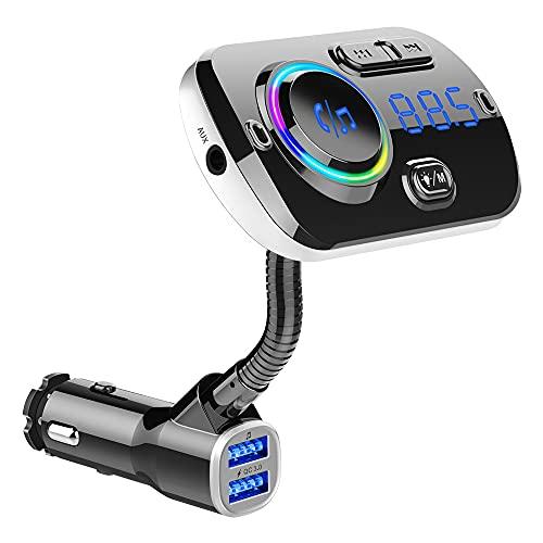Transmisor FM para Coche Dual USB Carga rápida 3.0 Manos Libres Inalámbrico Compatible con Bluetooth Reproductor MP3 con Luces de Colores Negro