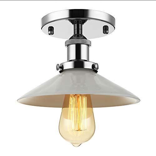 BAYCHEER Retro Vintage Plafón haenge lámpara 22 cm ancho 22 cm ancho haengelampe wohnzimmerlampen Cocina Pasillo de lámpara E27 para LED glühm Plata portalámparas Vidrio Blanco Lámpara de pant
