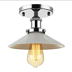 BAYCHEER Semi-Flush Mount Lamp 22cm E27 Celling Light Kitchen Lamp Ceiling Fixture Industrial Lighting Chrome with Glas Lamp Shade