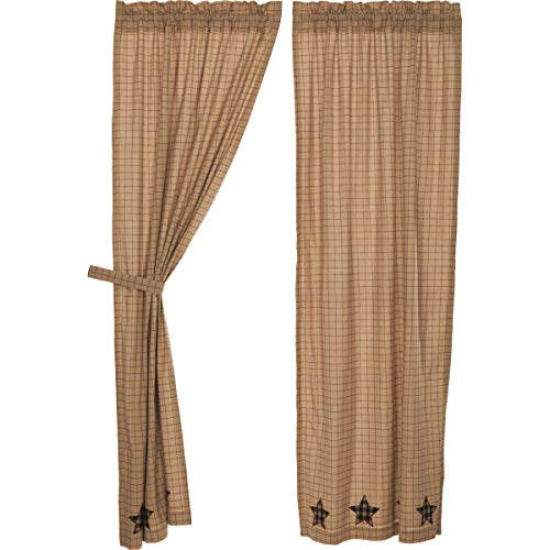 VHC Brands Bingham Star Panel Applique Star Set of 2 84x40 Country Curtains, Tan