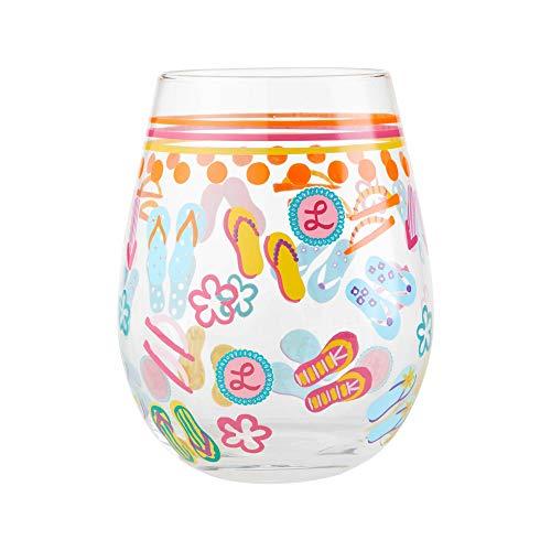 Enesco Designs by Lolita Flip Flops, 20 Ounce, Multicolor Stemless Wine Glass