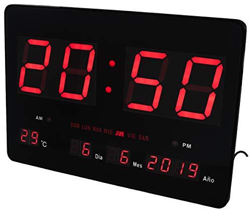 JEVX Reloj Digital de Pared Gigante con NUMEROS Grandes - para Colgar Led en Color Rojo Calendario Termometro Clock Medidor de Temperatura Fuente de Alimentacion Enchufe