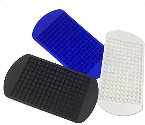 VONOTO 3 unidades aprobadas para alimentos grado de silicona 160 mini bandejas para cubitos de hielo y cuadrículas de caramelo, pequeñas bandejas para cubitos de hielo, moldes para chocolate