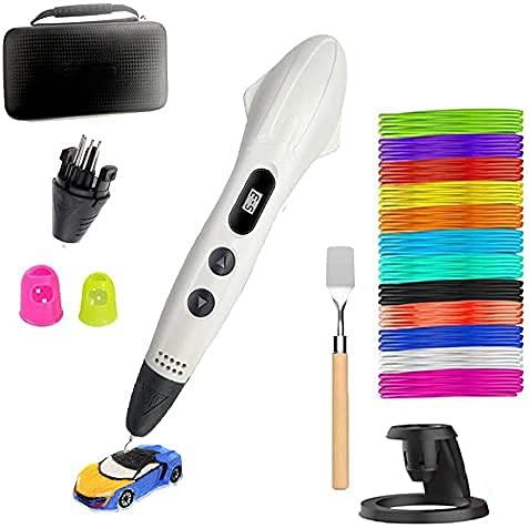 Penne 3D + PLA filamento di 12 colori - Ultima Versione Set di Penne per Stampa 3D per Bambini, Penna 3D Come Regalo Creativo per Adulti, Hobbisti per Scarabocchi, Artigianato, Pittura e Stampa 3D