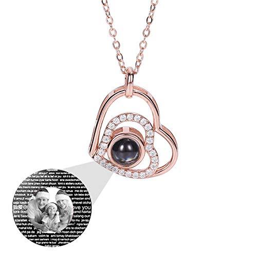 Collar de 100 idiomas TE AMO Collar de foto personalizado Collar de proyección Collar de promesa Colgante de corazón(Oro rosa Blanco y negro 22)