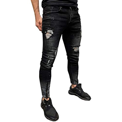 Men Casual Trouser Biker Ripped Skinny Jeans Frayed Slim Fit Denim Pants Mens U Der Armour Shorts (L, Black-3)