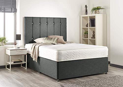 Bed Centre Snuggle Grey Linen Memory Foam Divan Set With Mattress, Headboard And No Drawers (Single (90cm X 190cm))