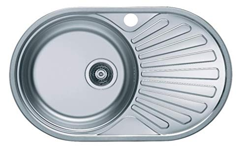 VBChome Einbauspüle 74x44 aus hochwertigem Edelstahl rundes Spülbecken mit Ablagefläche links rechts klassische Küchenspüle modernen Design Seidenglanz (rechts)