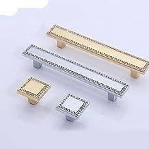 Goud Zilver Kristal Dressoir Knoppen Lade Handgrepen / Vierkante Glazen Kast Slingerknop Keukenkast Handvat Hardware-goud,...