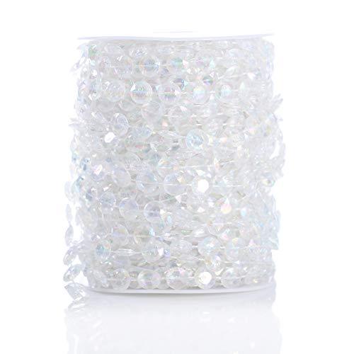 VEVEKY Acrylic Bead Rolls Garland - 30 Meters Crystal Diamond Garland Suitable for Wedding Banquet Decoration DIY Door Curtain (Colorful)