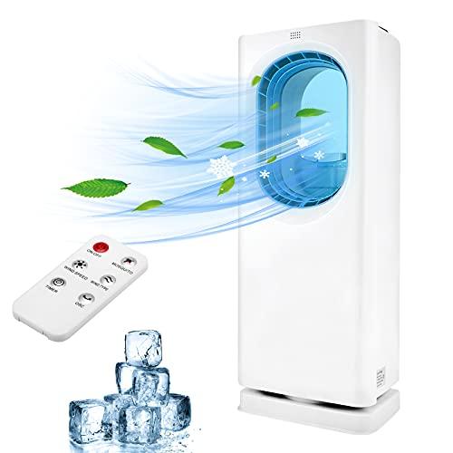MATHOWAL 4 en 1 Enfriador de aire evaporativo, Climatizador portátil, ventilador sin aspas, humidificador, purificador de aire, temporizador de 8 horas, 3 modos, control remoto, para oficina y hogar
