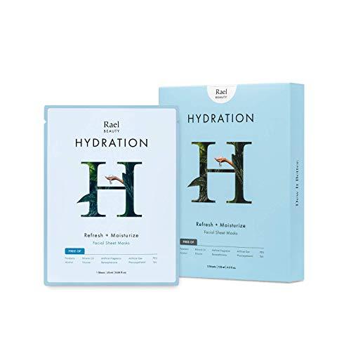 Rael Hydrolock - Hoja para máscara facial (hidratación), 5 hojas/paquete: Mascarilla hidratante y piel brillante. Ideal para las pieles secas.