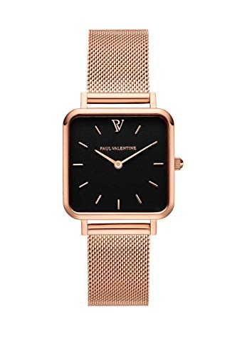 PAUL VALENTINE ® Damenuhr Glossyedge Uhr aus Edelstahl mit Mesh Armband Edle Damen Uhr mit japanischem Quarzwerk - Armbanduhr für Damen (Rose Gold Black Mesh)