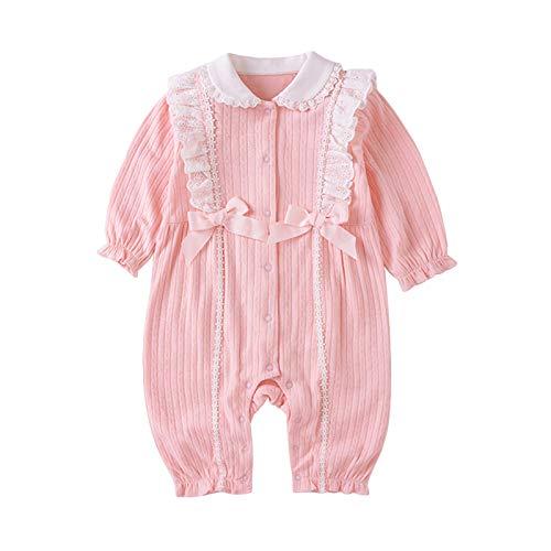 Baby Mädchen Strampler Schlafanzug 100% Baumwolle Overall Langarm Onesies Pyjama Niedlicher Outfits Rosa Babykleidung Neugeborene 0-3 Monate
