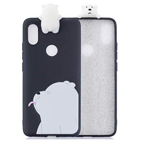 Artfeel Mignonne 3D Dessin animé Coque pour Xiaomi Redmi Note 6, Charmant Animal Blanc Ours Polaire Motif Souple Silicone Arrière Étui,Ultra Mince Flexible TPU Pare-Chocs Housse
