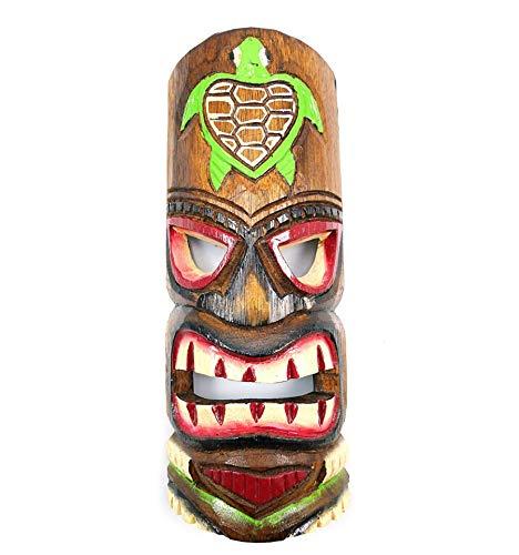 Maske Tiki H30cm aus Holz Schildkröte. Dekoration Hawaii.
