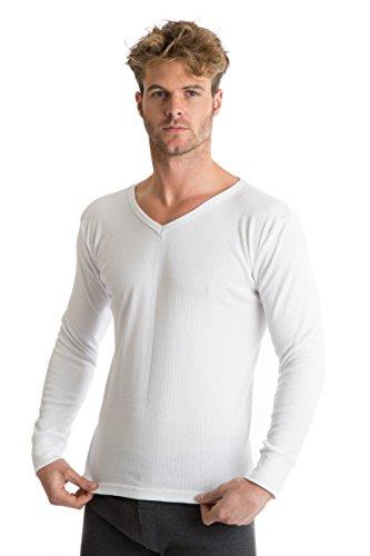 RP Collections - T-shirt à manches longues et col V - sous-vêtement thermique - homme - blanc - L [poitrine 101,6-106,6 cm]