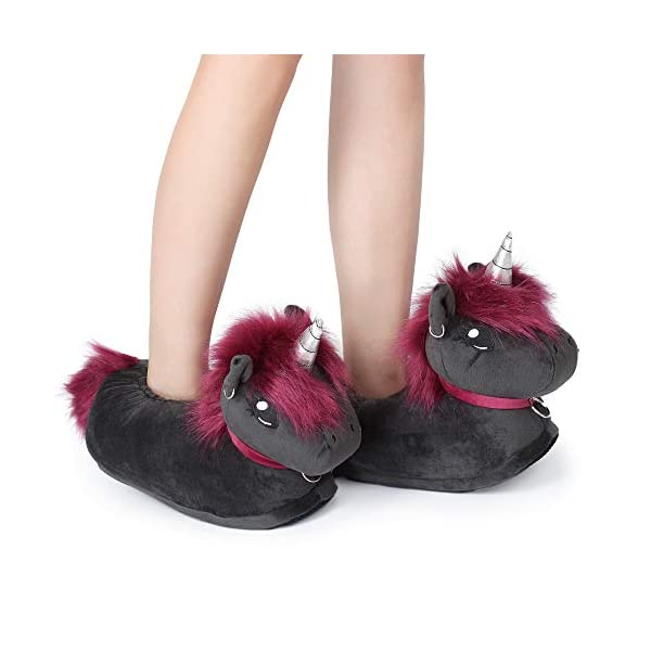 corimori 1847 (10+ Designs) Punk Unicorn Ruby Cute Plush 3D Animal Shaped Slippers, Funny Lounge Shoes, Womens Sizes 4-13